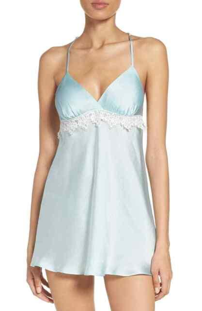 Flora Nikrooz Mira Chemise satin lingerie gown SMALL Bridal Blue retail $88