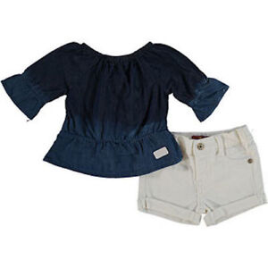 1ea03ace7 BNWT 7 SEVEN FOR ALL MANKIND BABY GIRLS 2 CHAMBRAY TOP   SHORTS SET ...