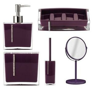 5pcs purple bathroom accessories set soap dish lotion dispenser with crystals ebay - Accessori bagno viola ...
