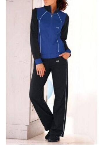 NEU Schwarz//Blau HIS Damen Hose Jacke 2Tlg H.I.S Trainingsanzug Kurz-Gr.18 36
