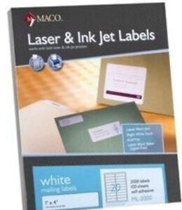 Maco-ML2000-1-034-x-4-034-Labels-Laser-Inkjet-2000-Labels-bx-20-Labels-sheet