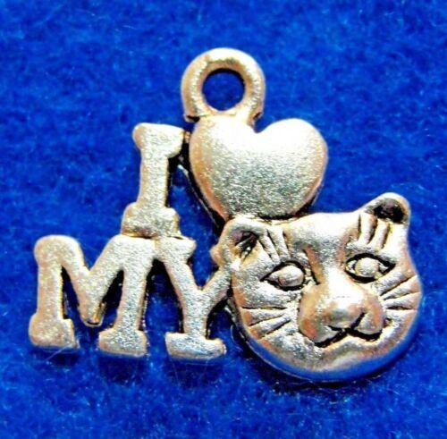 "Tibetan Silver /"" I Love My Cat/"" Charms Pendants Earring Drops  C18 10Pcs"
