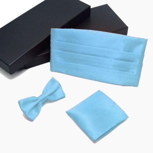 Set Geschenkbox Kummerbund Hellblau Fliege Einstecktuch Business Anzug 3 tlg