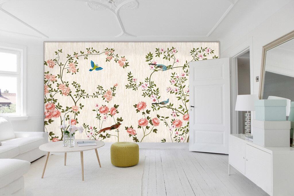 3D Pink Flower Bird 7 Wallpaper Mural Wall Print Wall Wallpaper Murals US Carly