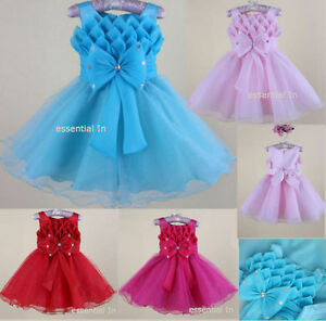 Baby-Girls-Flower-Formal-Wedding-Bridesmaid-Party-Christening-Dress-AGE-2-8-YRS