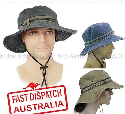 MENS OLIVE GREEN BUCKET SUN HAT all sizes 100/% cotton pre washed bush cap hiking