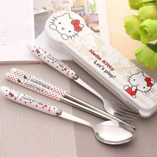 4pcs Ceramic Hello Kitty Tableware Chopsticks Fork Spoon Storage Box Dinnerware
