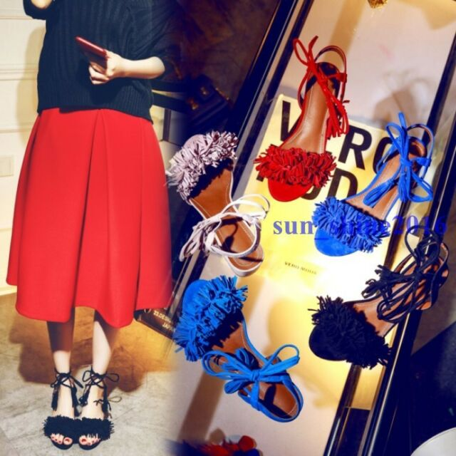 Fashion Womens Tassel Fringe Sandals Lace Up Block Chunky Heels Party Boho Shoes