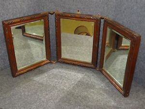 Antique Victorian Tri Fold Wooden Table Travel Mirror With