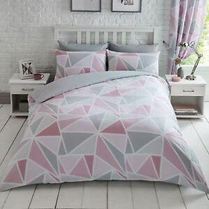 Geometrique-Metro-Triangle-Set-Housse-de-Couette-Double-Rose-Gris-Literie