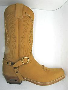 c05588a1561 Details about Sendra 3434 Cowboy Boots Men'S Tan Nubuck Leather Western  Biker Handmade