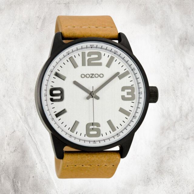 Oozoo Quartz Watch Unisex Black Timepieces 48mm Leather Bracelet Brown UOC7090