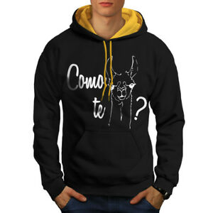 Play New Hoodie Hood gold Men Black Word Contrast fwIdqaf