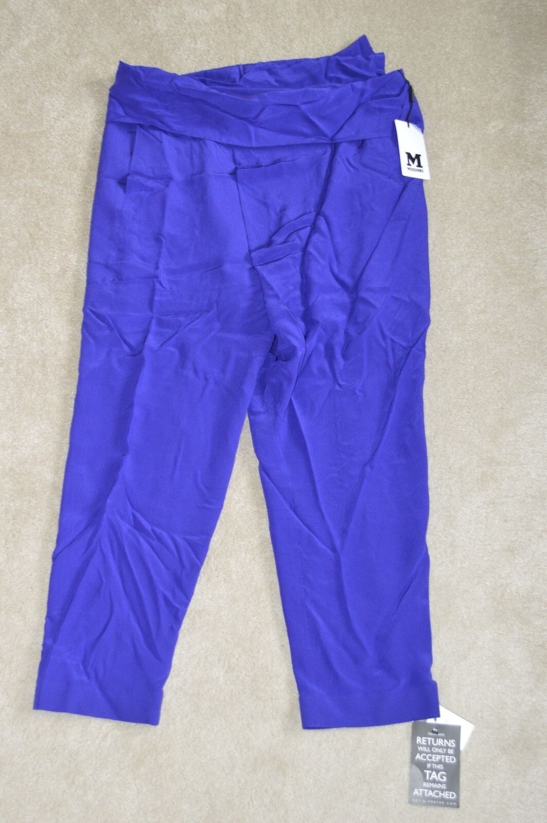 Missoni Deep bluee 100% Silk Trousers Womens Size 44   BNWT NEW