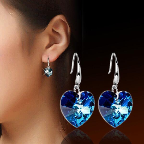 Fashion Women Silver Plated  Ear Hook Blue Crystal Rhinestone Earrings Stud