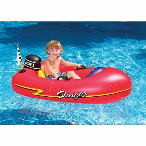 Kids Inflatable Speed Boat Ride On Float Swimming Pool Toy Water Raft Fun Red Ebay