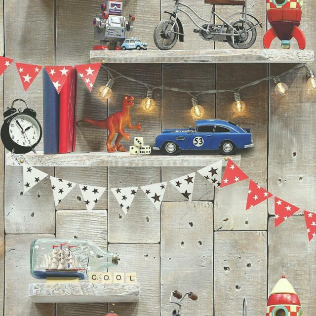 Boys Toys Papel Pintado Motivo Biblioteca en Madera Panel por Arthouse Imagine