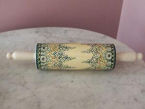 Polish Pottery Rolling Pin UNIKAT Signature Rembrandt Pattern!