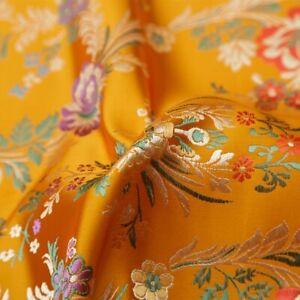 Jacquard-Damask-Fabric-Brocade-Cloth-Vintage-Begonia-Handmade-Costume-Material