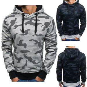 Mens-Camo-Pocket-Hooded-Hoodie-Casual-Sweatshirt-Fleece-Pullover-Tops