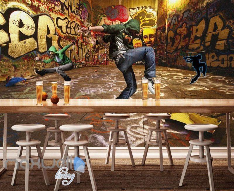 3D Graffiti Street Dancer Wall Murals Wallpaper Wall Art Decals Decor