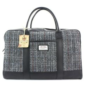 Grey Berneray Leder aus Reisetasche Harris Tweed wqxASvX