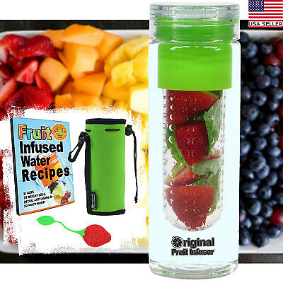 25 oz Fruit Infused Water Bottle + Tea Infuser Recipes PDF Insulated Koozie