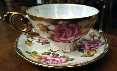 ROYAL SEALY CHINA JAPAN TEA CUP AND SAUCER ROSES AND GOLD