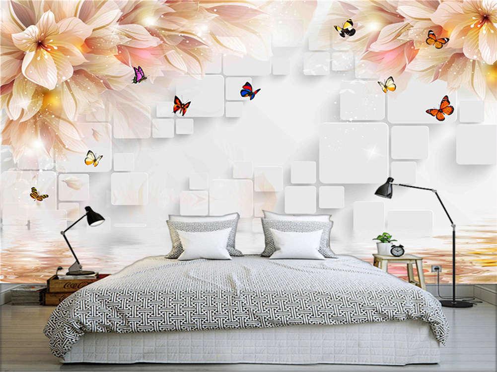 Bright Enormous Flowers 3D Full Wall Mural Photo Wallpaper Printing Home Kids De