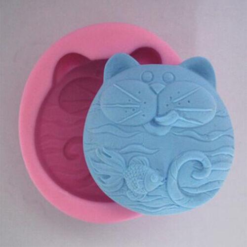 Cat Fish Craft Art Silicone Fondant Mold Cake Decorating Soap Mold Handmade Tool