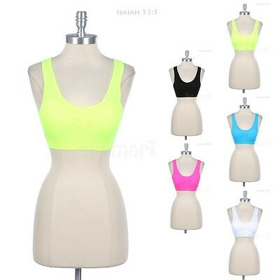 Seamless Cross Back Padded SPORT BRA CROPPED TANK Top Sleeveless Athletic Active
