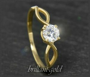 Diamant-585-Gold-Brillant-Damen-Solitaer-Ring-0-54-ct-Top-Wesselton-Si3-NEU