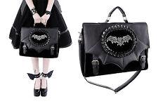 Restyle Handtasche Samt Bat Wings Steampunk Tasche Satchel Nugoth Gothic Bag A4