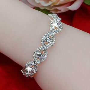 Women-Silver-Bling-Crystal-Infinity-Rhinestone-Bracelet-Bangle-Jewelry-Gifts-NEW
