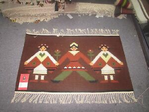 NWT NEW Russian Folk Art Kilim Hand Knotted Wool Tapestry 2'-2 x 1'-7 Brown