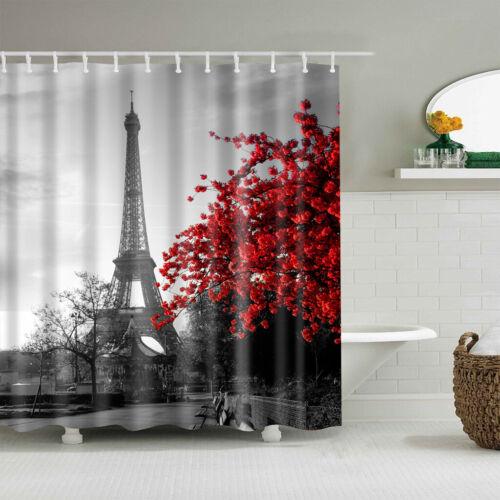 París Torre Eiffel Baño Cortina de Ducha Tela Impermeable Mariposa Flor