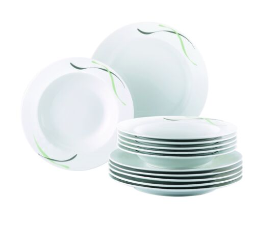Tafelservice Tafelgeschirr Essgeschirr weiß Muster grün grau Service 12-teilig