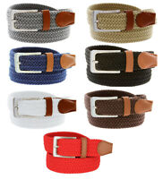 Men's Fabric Leather Elastic Woven Stretch Belt 1-3/8 Wide