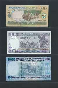 Rwanda-Lot-de-3-billets-differents-en-etat-NEUF-Lot-Numero-1