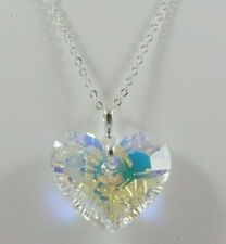 $99.99 NWT Truly In Love SWAROVSKI Crystal Heart Pendant Silver Tone Necklace