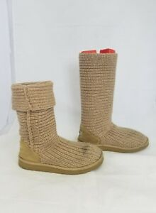 UGG-Size-7M-5817-Tan-Tall-Knit-Textile-Cardy-Pull-On-Boots-w-Sheepskin-Lining