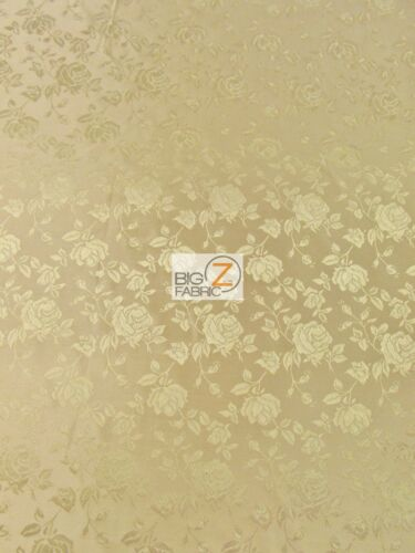 Champagne SOLD BY THE YARD DECOR DRESS FLORAL ROSE JACQUARD SATIN FABRIC