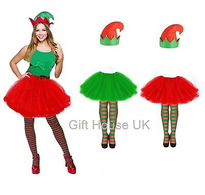 Kids ELF TUTU COSTUME Girls Christmas Party Fancy Skirt Dress Santa Helper UK