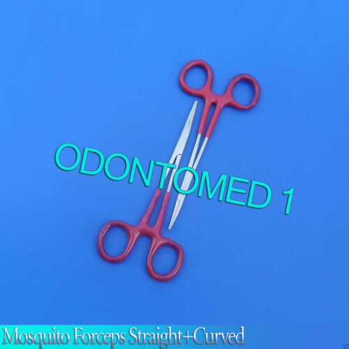 2 Mosquito Hemostat Forceps Straight Curved 5/'/' Pliers Red Dep Fishing Tools