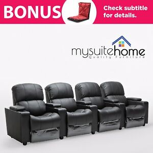 Merveilleux Image Is Loading Sophie Leather 4 Seater Home Theatre Recliner Sofa