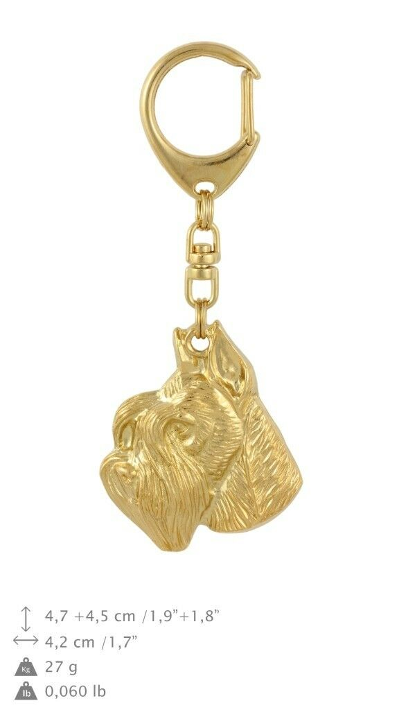 Schnauzer type 2 - oro covered keyring with dog, quality, keychain Art Dog