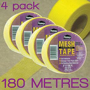 SELF-ADHESIVE-FIBERGLASS-MESH-JOINT-DRYWALL-TAPE-5cm-x-45M-4-PACK-H5420