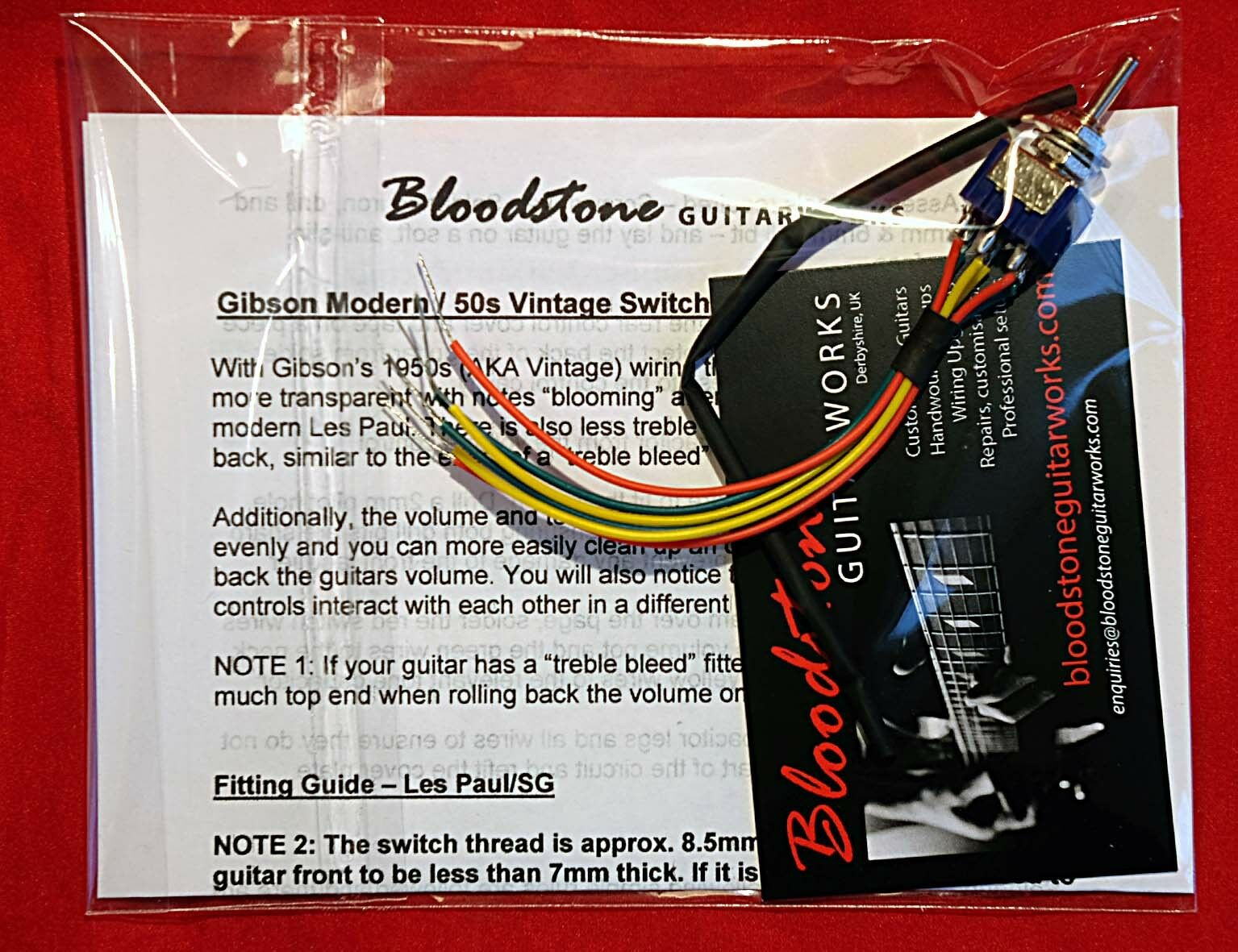 Bloodstone Vintage Modern Wiring Switching Kit For Gibson Uk Epiphone Guitars