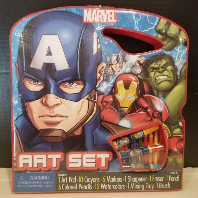 Marvel Avengers Art Set Captain America Hulk 40 pieces Iron Man Carrying Case