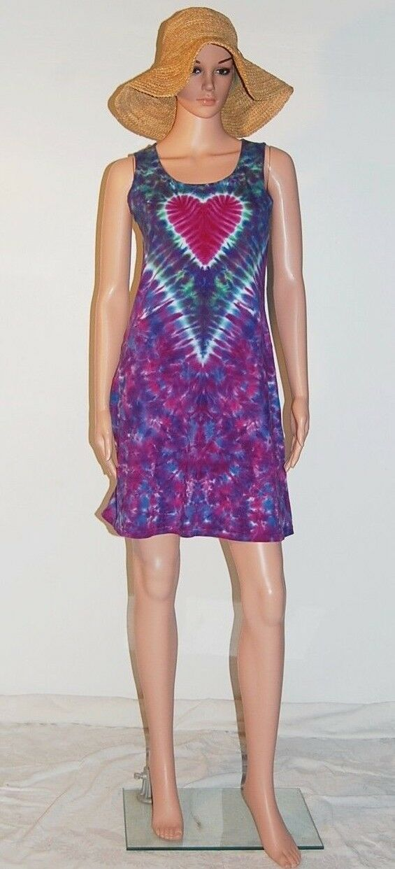 TIE DYE Women's Heart V Short Tank Top Dress hippie sm med lg xl 2X 3X